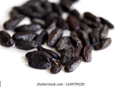 background macro image of tonka beans (Dipteryx odorata)