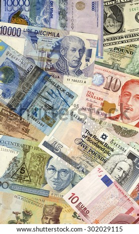 Background Made Of Dollar Pound And Euro Banknotes