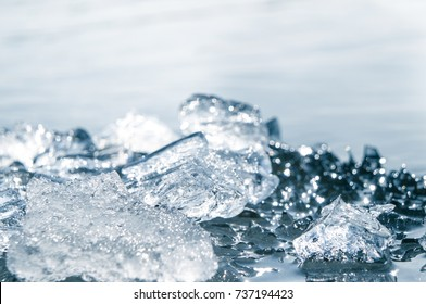 Background made of ice. Ice patterns.