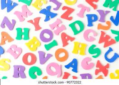background made of multicolor foam letters