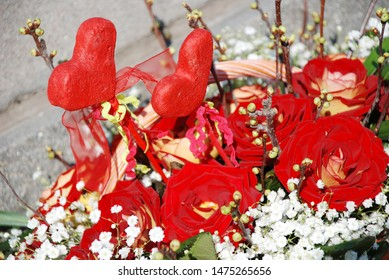 background made of red roses bouquet