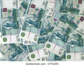 background made of russian one  thousand rubles banknotes