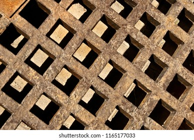 Background made of rusty metal lattice grunge