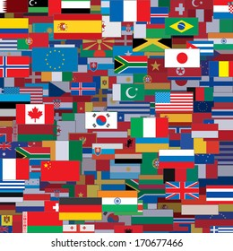 Background Made from World Flags. Template