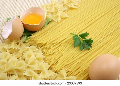 background make of spaghetti and eggs