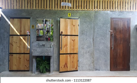 Background Male bathroom door and female bathroom on the polished surface and wall  Mirror  & Batten Door Images Stock Photos u0026 Vectors | Shutterstock