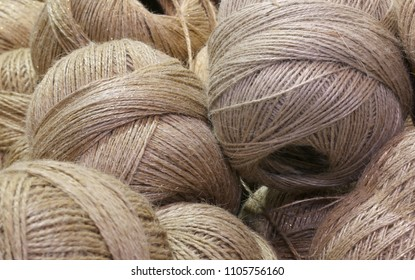 background of Many balls of crude twine for hobby creations