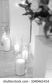 background of many candles. black and white