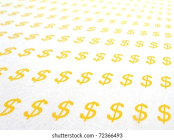 Background of many dollar symbol on paper, selected focusing