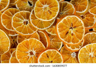 Background of many dried oranges