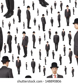 background of many gentlemen looking in various direction