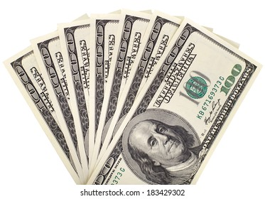background of many mass currency note  US dollars, close up on white background, isolated