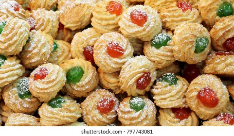 background of many pastries made with sweet almonds a typical Italian culinary specialty with candied fruit and cherries