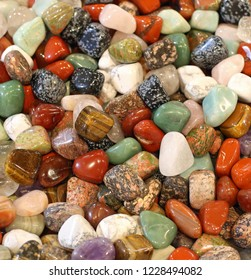 background of many stones for sale at mineralogy store
