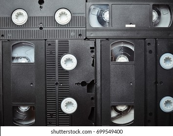 Background of many video cassettes. Technology of the past. Space for text.