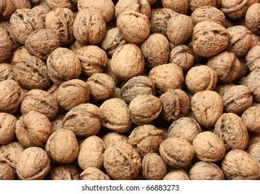 Background of many walnuts