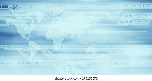 Background media image with digital map and icons