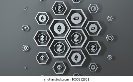 Background from mesh with cryptocurrency icons. Dark scheme. 3D rendering