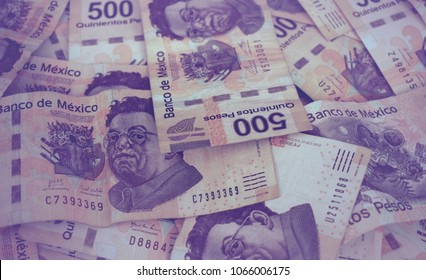 Background with Mexican money of five hundred Mexican pesos bills, Gradient Filter