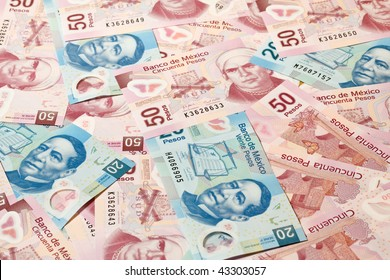 Background of Mexican pesos - 20 and 50 pesos bills