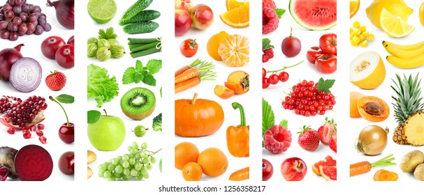 Background of mixed of color fruits and vegetables. Collage of fresh ripe food - Shutterstock ID 1256358217
