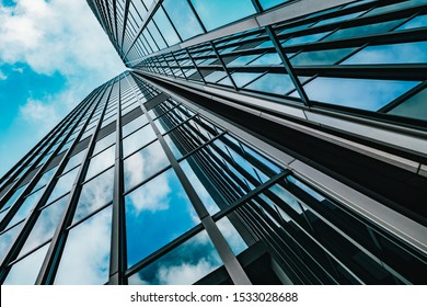 background of modern glass building skyscrapers