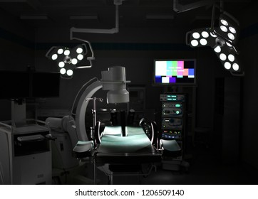 Background of modern operating room at medical hospital interior with the anesthesiology machine equipment and medical devices in modern operating emergency room