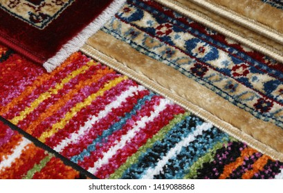 background of modern rugs and Persian rugs for sale in the home decor stall