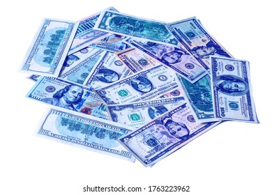 Background with money american dollar bills. Cash dollars isolated on a white.