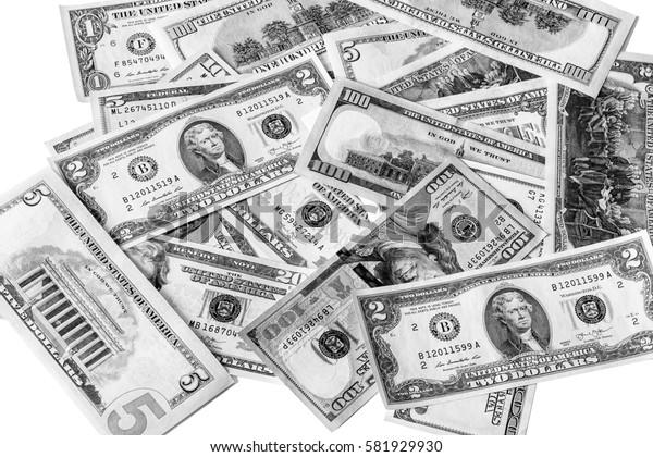 Background with money american dollar bills. Cash dollars. Black an white image.