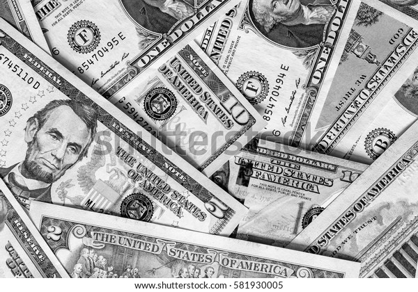 Background with money american dollar bills. Cash dollars. Black an white image.
