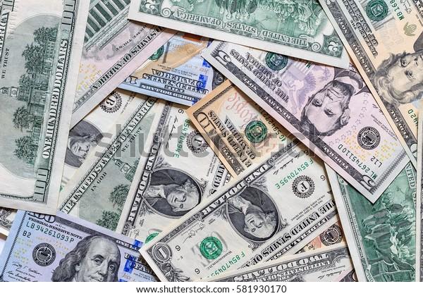 Background with money american dollar bills. Cash dollars.