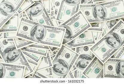 Background with money american hundred dollar bills - horizontal