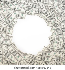 Background with money american hundred dollar bills with copy space inside. Frame of banknotes denominations of 100 dollars