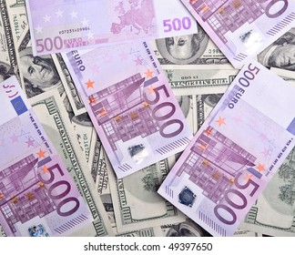 background of money dollars and euro