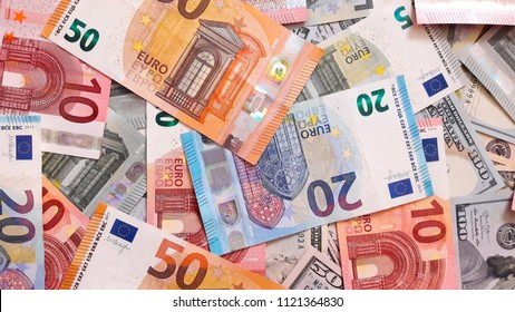 Background with money. Euro and dollar
