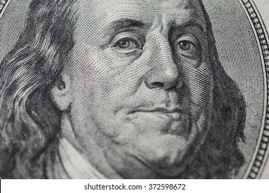 background of the money, hundred dollar bills front side. background of dollars, new hundred-dollar bil face, the evolution of the bill in one hundred dollars, Benjamin Franklin