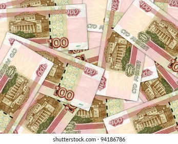 background of money pile 100 russian rouble bills. Studio photography.