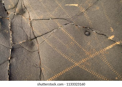 Background with mountain bike tracks on a rocky surface