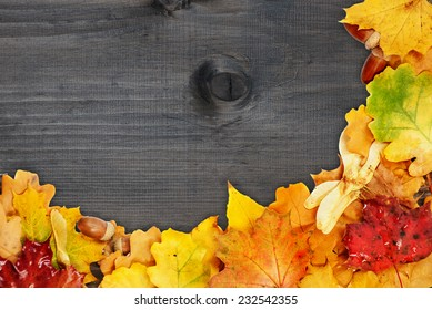 Background of multicolored autumn leaves on the old wooden boards