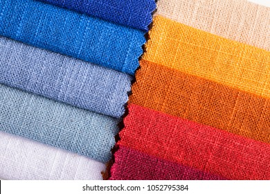 background for multicolored linen fabric texture.
