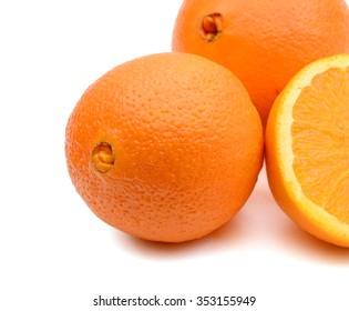 background of navel orange isolated on white