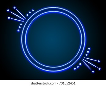 Background with neon blue round frame for text