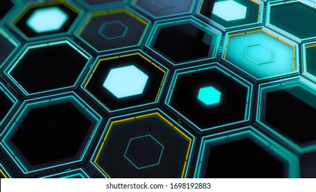 Background of neon hexagonal cells. Animation. Horizontal futuristic surface with large neon hexagonal cells. Futuristic background of hexagonal shapes
