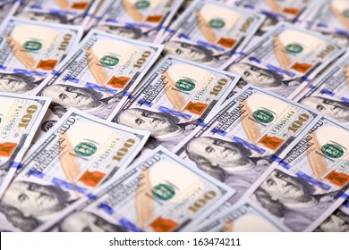Background of the new U.S. hundred-dollar bills put into circulation in October 2013. Selective focus