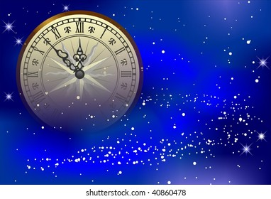 Background for new year's card with antique clock