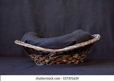background for newborn photos. Basket from a rod