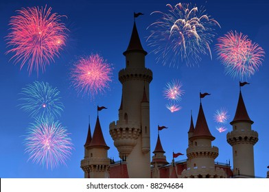 Background Night castle with firework