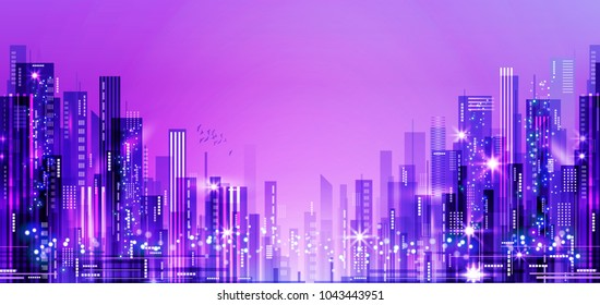 background of the night city with blurred lights, illustration