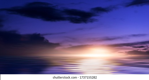 Background of night sea landscape. Night sky, clouds, full moon. Reflection of the moon on the water. Sunset on the sea horizon. Blue tinted.